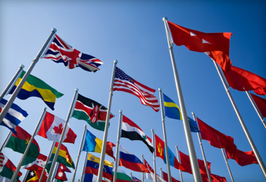 Flags from countries all around the world